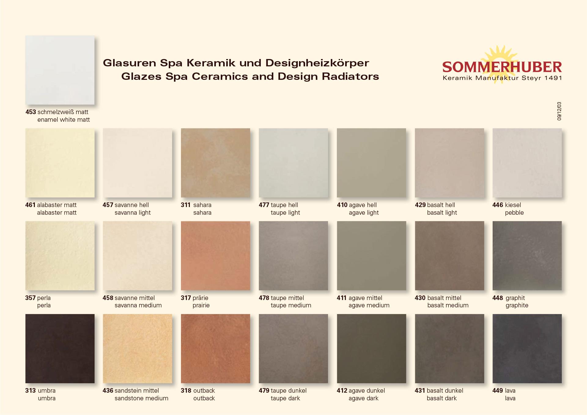 Wellness-Produkte - Übersicht Glasuren Spa Keramik und Designheizkörper