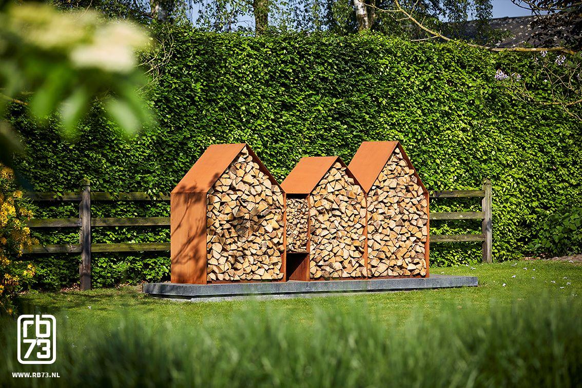 Edelrost-Feuerstelle - Holzlager - Bruges